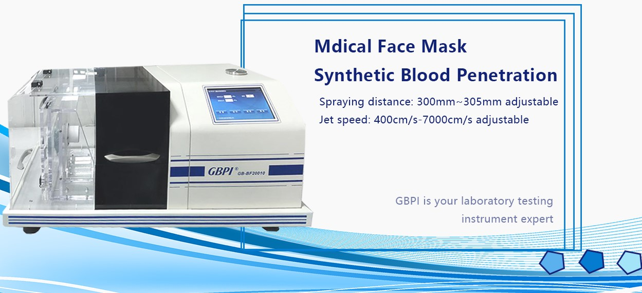 What is the test process and steps of the GBPI mask synthetic blood penetration tester